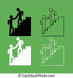 Man helping climb other man icon  Black and white color set