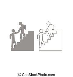 Man helping climb other man icon. Grey set .