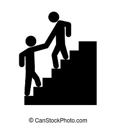 Man helping climb other man it is black icon .