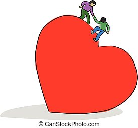 man helping his friend to climb on big red heart shape vector illustration sketch doodle hand drawn with black lines isolated on white background