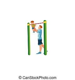 Man helping son to hang on crossbar vector illustration