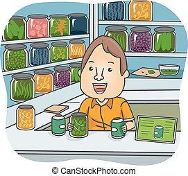 Man Herbal Medicine Store Illustration