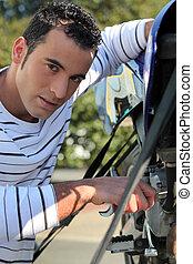 man, herstelling, motorfiets