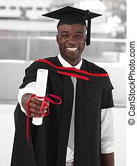 man, het glimlachen, op, afgestudeerd