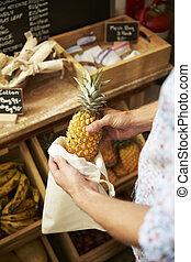 man, het putten, kruidenierswinkelzak, herbruikbaar, winkel, plastic, afsluiten, ananas, katoen, kosteloos, op