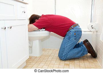 man, het vomeren, in, badkamer