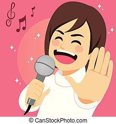 man, het zingen, vrolijke