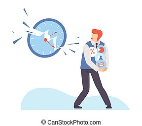 Man hides different icons from a huge clock. Vector illustration.