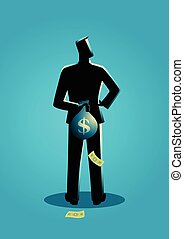 Man hiding a money bag behind his back - Business concept ...