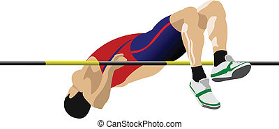 Man high jumping. Track and field.