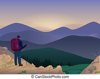 Man hiker on top of a mountain watching wonderful nature scenery. Vector illustration.