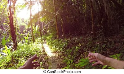 The sun peeks through the leaves of tropical trees as a man hikes along a jungle nature trail, swinging his hands in an awkward, alternating pattern. UltraHD video