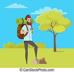 Man Hiking, Green Nature, Travel Hobby Vector