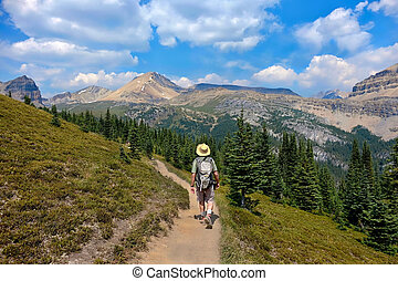 Man hiking in Canadian Rockies in Banff National Park.