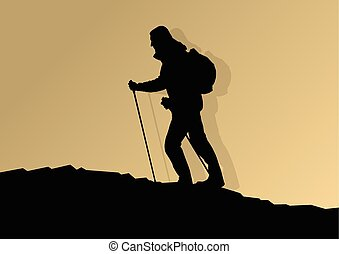 Man hiking in mountains adventure nordic walking with poles...