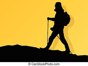 Man hiking in mountains adventure nordic walking with poles in nature vector background illustration