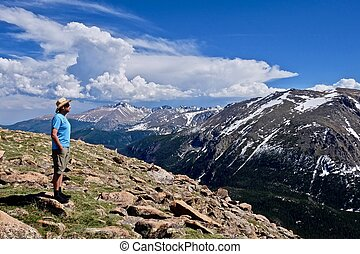 Man hiking in Rocky Mountainas National Park.