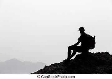 Man hiking inspiration silhouette
