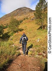 Man hiking through the Scottish hills