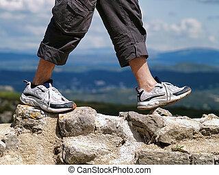 hiking  - man hiking up a canyon