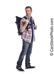 Man Hiking with a Backpack on a White Background