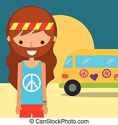 man hippie van traditional free spirit