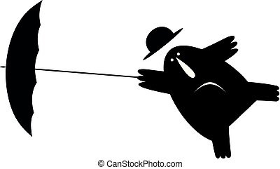 Man his bowler hat and umbrella gone by the wind illustration isolated