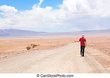 Man hitchhiking the car on deserted road, Bolivia