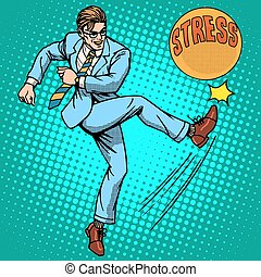 Man hits ball with name stress pop art retro style. Hard work. Optimistic worker