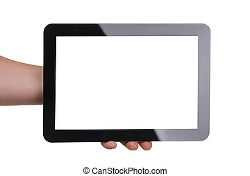 Man hoding black tablet frame in hand