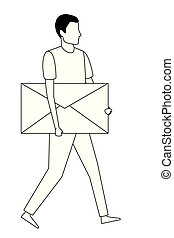 man hoding email envelope symbol in black and