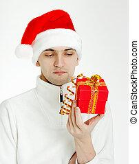 man, hoedje, kerstman, cadeau, kerstmis