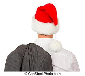 man, hoedje, zakelijk, kerstman