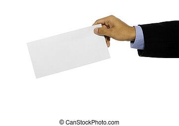 Man Hold Blank Envelope