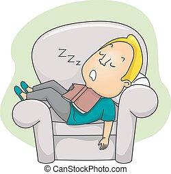 Man Hold Book Sleep