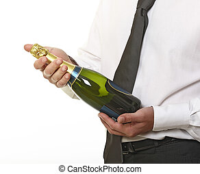 man hold champagne bottle