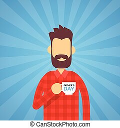 Man Hold Cup Happy Father Day Present Holiday Flat Vector ...