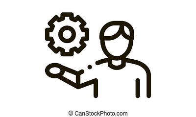 Man Hold Gear Icon Animation. black Man Hold Gear animated icon on white background