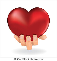 Man hold  love red heart in hand to woman