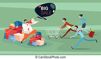 Man Hold Megaphone People Running Black Friday Big Sale...