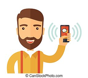 A man standing while holding smartphone with bubble, call and sends message via sms chat with internet wifi. Communication concept. A contemporary style. Vector flat design illustration with isolated white background. Square layout.