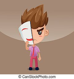Man Hold Smile Mask  Fake Vector