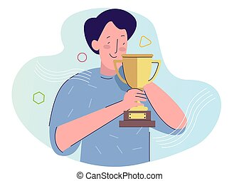 man hold trophy smile happy with cartoon flat style