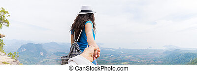 Man Hold Woman Hand, Tourist Couple With Backpack On Mountain Top Back Rear Panorama View Enjoy Beautiful Landscape