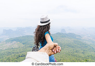 Man Hold Woman Hand, Tourist Couple With Backpack On Mountain Top Back Rear View Enjoy Beautiful Landscape