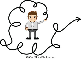 Man Holding a Arrow Wire Vector
