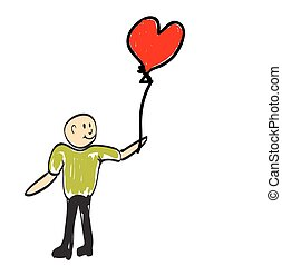 Man holding a balloon in the form of heart. Illustration.