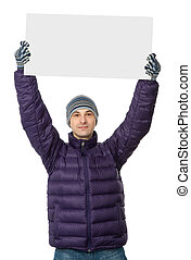 man holding a big blank card - man in man winter clothes...