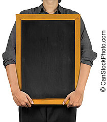 man holding a blank blackboard