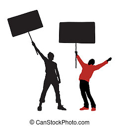 man holding a blank sign, vector illustration